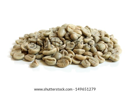 Green coffee beans on a white background - stock photo