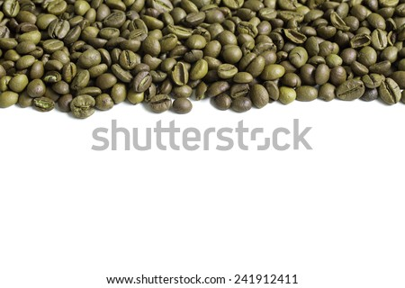Green coffee beans stripe. Isolated on white background. - stock photo