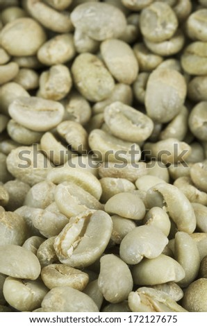 Green Coffee Beans Up Close - stock photo