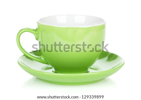 Green coffee cup. Isolated on white background - stock photo