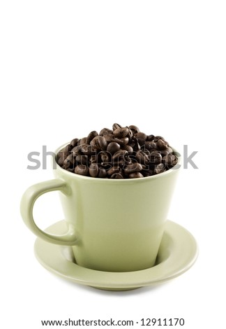 Green coffee cup isolated on white, with copy-space - stock photo