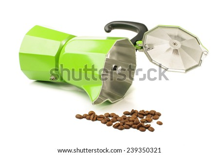 Green coffee preparation pot isolated - stock photo