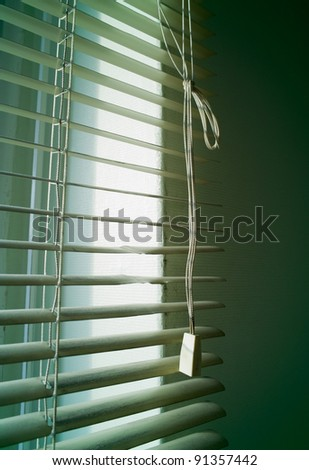 green cold ambiance behind the slat blind - stock photo