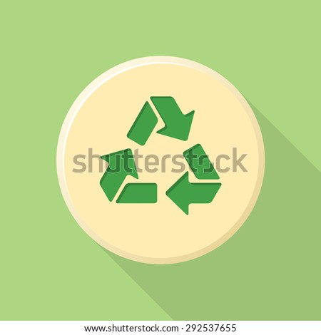 green color flat design recycle sign icon with shadow