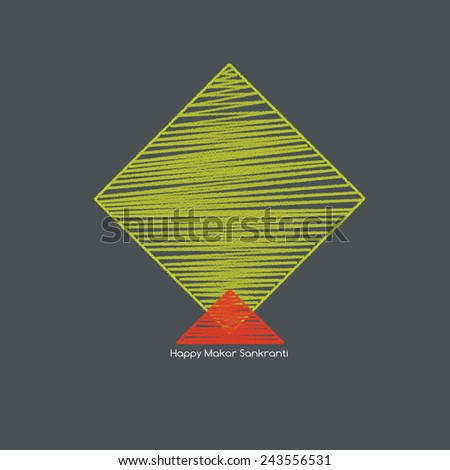 green color kite on background with makar sankranti text - stock photo