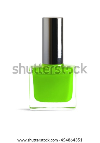 Green color nail polish isolated on white background with clipping path