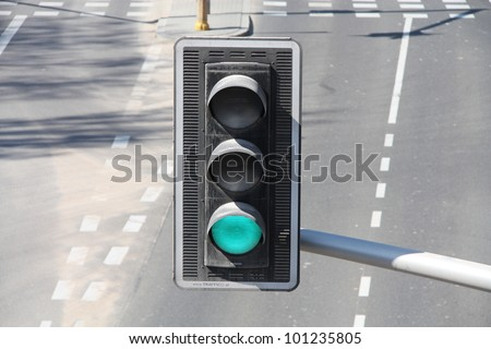 Green color on the traffic light. - stock photo