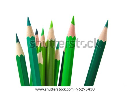Green color pencils - stock photo