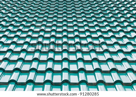 Green color roof tile - stock photo