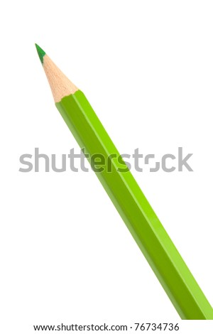 Green colouring crayon pencil isolated on white background - stock photo