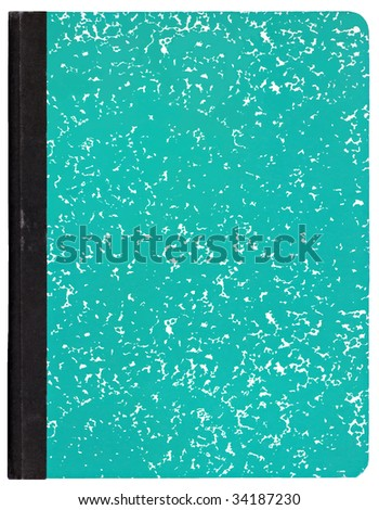 Green composition notebook isolated on white.