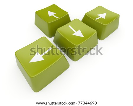 Green computer arrow key. Isolated - stock photo