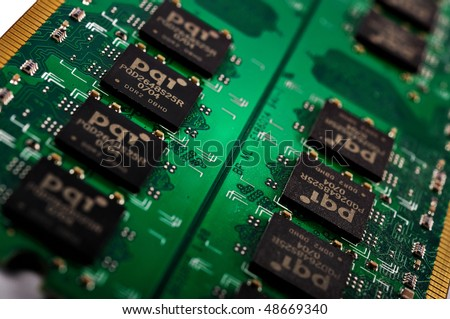 Green Computer Chip Technology close up - stock photo