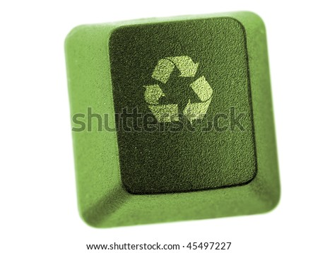 Green computer keyboard key with three-arrow recycle symbol isolated on white