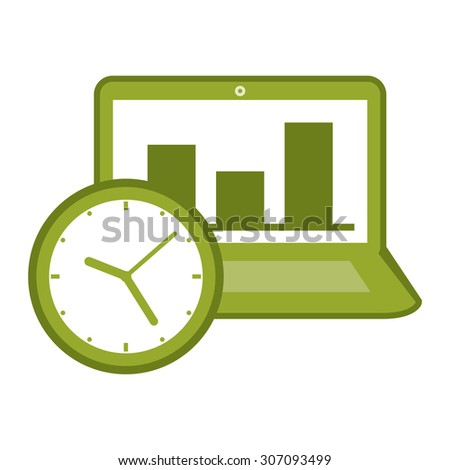 Green Computer Laptop With Bar Chart on Screen and Time Clock Infographics Flat Icon, Sign Isolated on White Background - stock photo