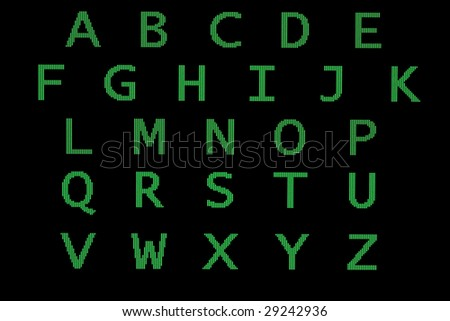 green computer letters in alphabet order
