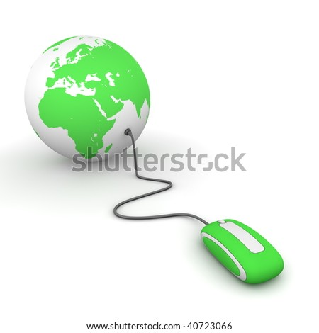 green computer mouse connected to a green globe - stock photo