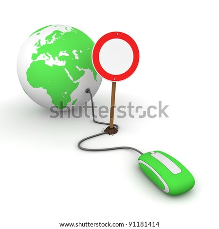 green computer mouse is connected to a green globe - surfing and browsing is blocked by a red-white no passing sign that cuts the cable - stock photo