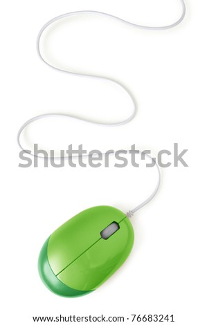 green computer mouse with cable isolated on white