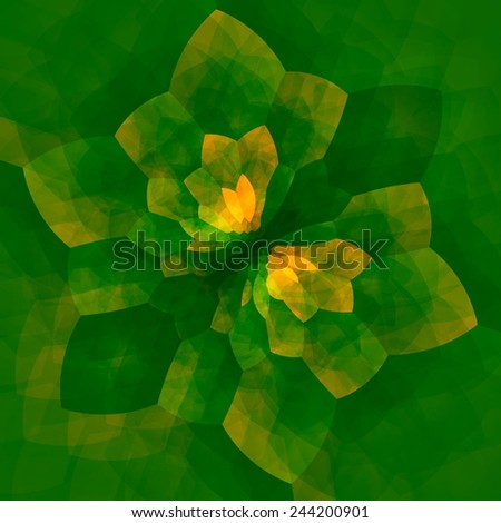 Green Concentric Mandala Flower - Kaleidoscopic Abstract Background - Geometric Art - Surreal Artistic Effect - Graphic Design - Nature Energy - Psychedelic Illustration Fractal - Symmetrical - stock photo