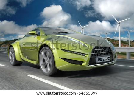 Green concept car. - stock photo
