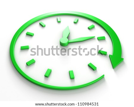 green concept clock dial with arrow around - stock photo