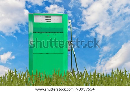 Green concept, gasoline pump - stock photo