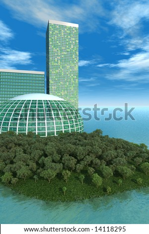 Green concept has biodome, trees on small island with futuristic buildings with blue water and sky.