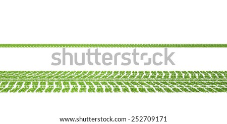 Green concept, Leafs tyre tracks over white background
