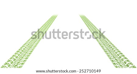 Green concept, Leafs tyre tracks over white background - stock photo