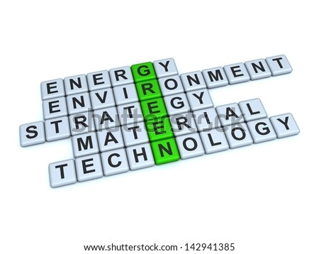Green Concept. Word Green and related with it words: energy, environment, strategy, material, technology, on a white background.
