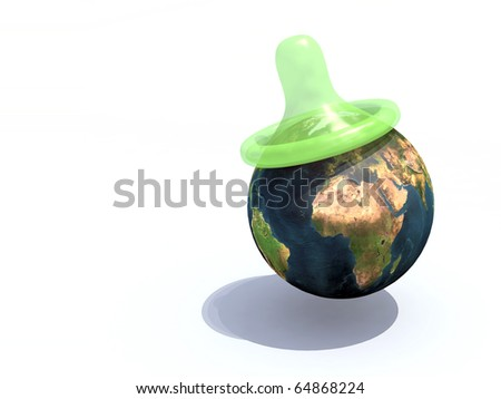 green condom over the world, protection concept against AIDS