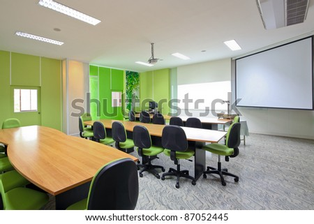 green conference room. - stock photo