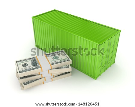 Green container and stack of dollars.Isolated on white.3d rendered. - stock photo