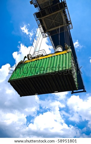 green container box on cargo operation - stock photo