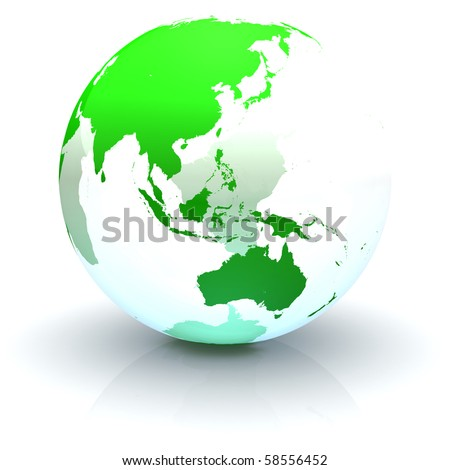 Green continents-only transparent globe illustration with highly detailed continents facing Australia and Eastern Asia - stock photo