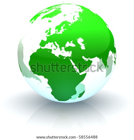 Green continents-only transparent globe illustration with highly detailed continents facing Europe