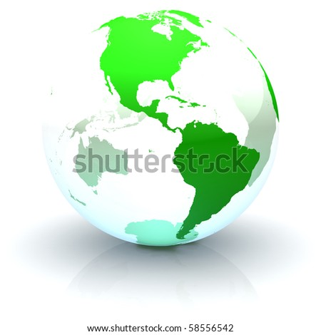 Green continents-only transparent globe illustration with highly detailed continents facing the Americas - stock photo