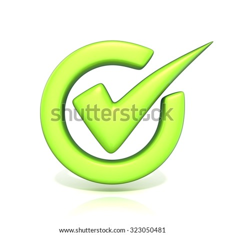 Green correct check mark in circle. 3D render illustration isolated on white background - stock photo