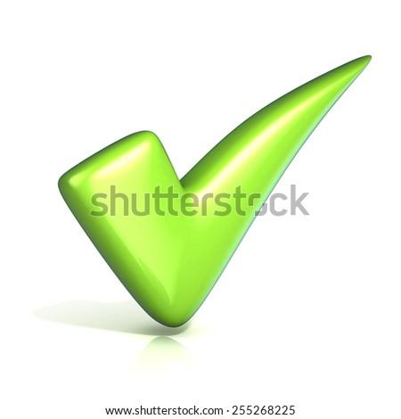 Green correct check mark. Isolated on white background. - stock photo