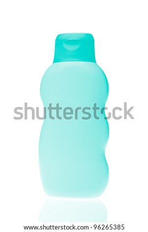 green cosmetic bottle isolated on white background