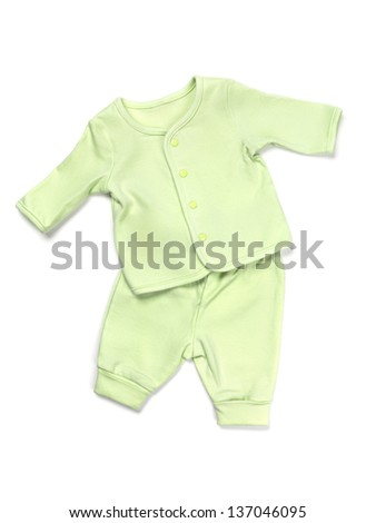 Green cotton baby pajama set isolated on white background - stock photo