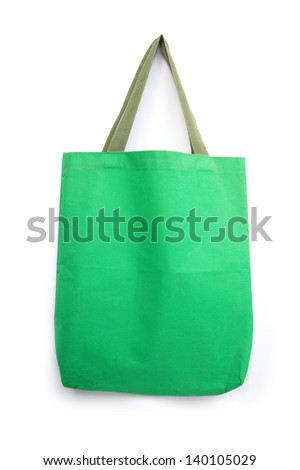 green cotton bag on white isolated background  - stock photo