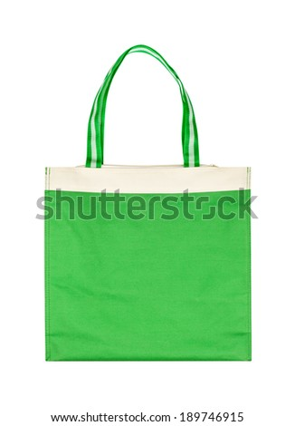 Green cotton eco bag isolated on white background - stock photo