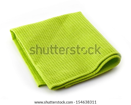 green cotton napkin isolated on a white background