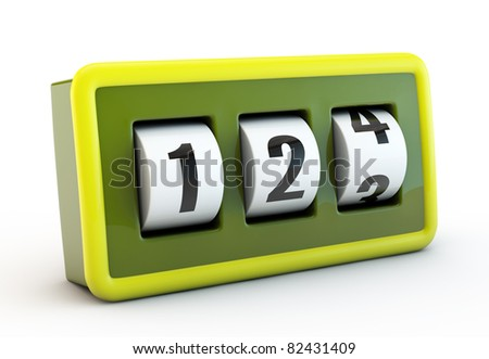 green counter  isolated on white background - stock photo