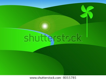 green countryside with one wind turbine generator - stock photo
