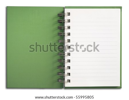 Green Cover Notebook vertical single white page - stock photo