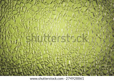 Green Crackle Glass Background Lighter In The Center - stock photo
