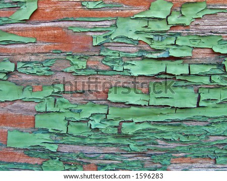 Green Crackled Wood Texture - stock photo